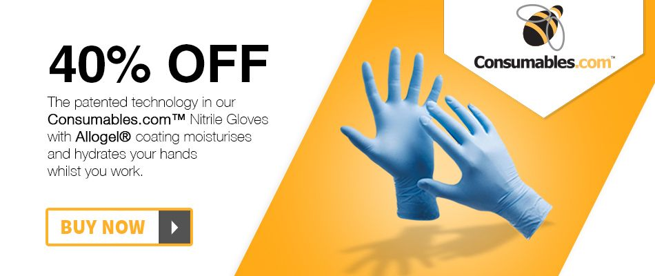 Consumables.com™ Powder Free Blue Nitrile Gloves with AlloGel® Inner Coatingl