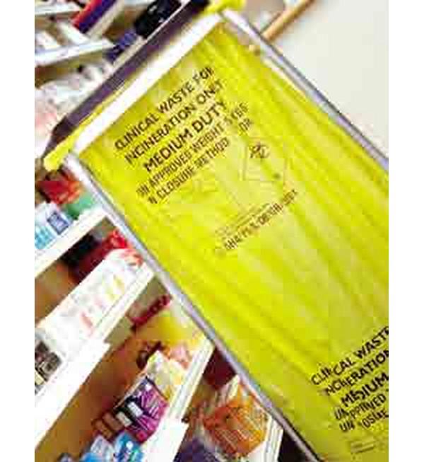 Medium Duty Clinical Waste Sacks, Yellow, 60ga, 90 Litres